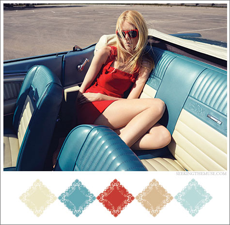 Mood board based on vintage car and red