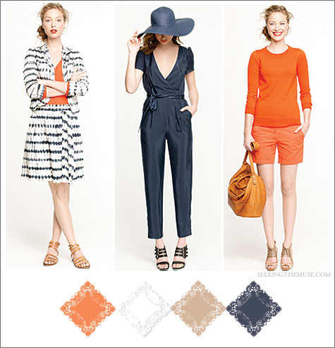 Color board from J Crew Summer 2012 catalogue with tangerine, navy, camel, white