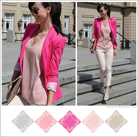 Color boad based on lookbook.nu hot pink blazer, carnation pink top, blush pink denim