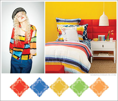 Color board based on diane von furstenberg bedding, color blocking, colored stripes