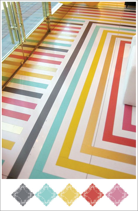 Color board based on striped Kate Spade floor.