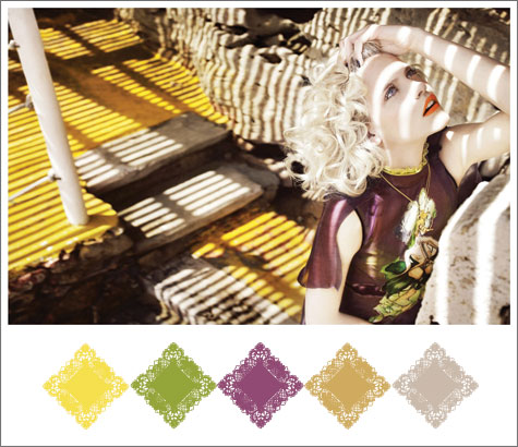 Color board based on Marcin Tyszka photo with yellow, lime green, and eggplant purple.