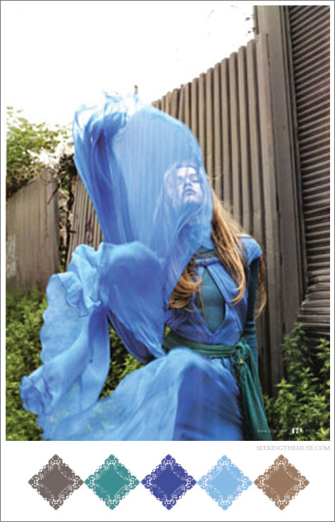 Color board based on dreamy photo by Yelena Yemchuk of periwinkle blue and teal green.