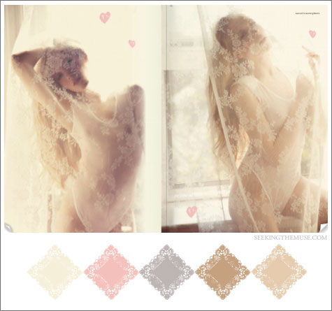 Color board based on soft and light colors from Dujour Magazine.