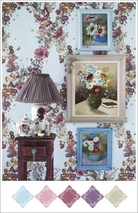 Color board based on Martin Cedervlad photo with floral patterns and burgundy and light blue color scheme.