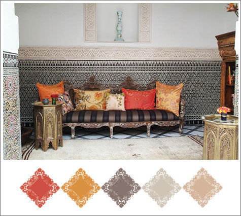 Color board based on Moroccan decor with orange and golden florals.