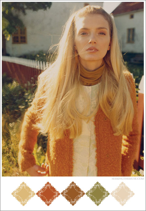 Color board based on Tom Craig photo with Lily Donaldson, mustard, sage, pumpkin, vintage colors.