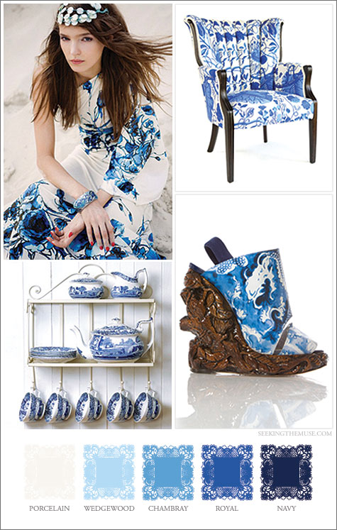 Mood board based on blue pattern on white background.