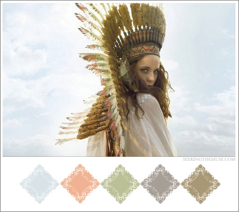 Color board based on pale colors and feather headdress.