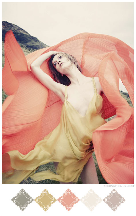 Color board based on peach and butter, ethereal photo.