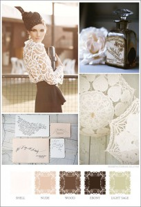 Mood board based on Battenburg lace, light neutrals, black and dark brown.